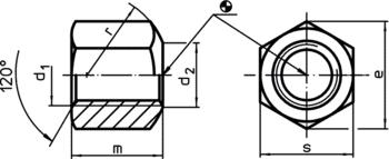 Écrous six pans DIN 6330 (hauteur 1,5 d)  IM0002528 Zeichnung