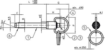 Broches à billes avec anneau simple effet - selon NASM / MS17987  IM0010677 Zeichnung fr
