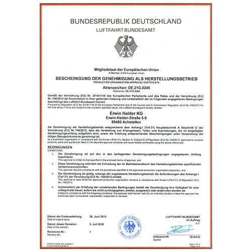 Autorisation comme organisation de production par l'autorité allemande de l'aviation EASA Part 21G